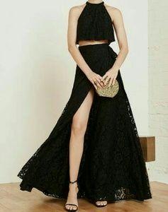 Reformation Harper Black Lace 2 Piece Set XS